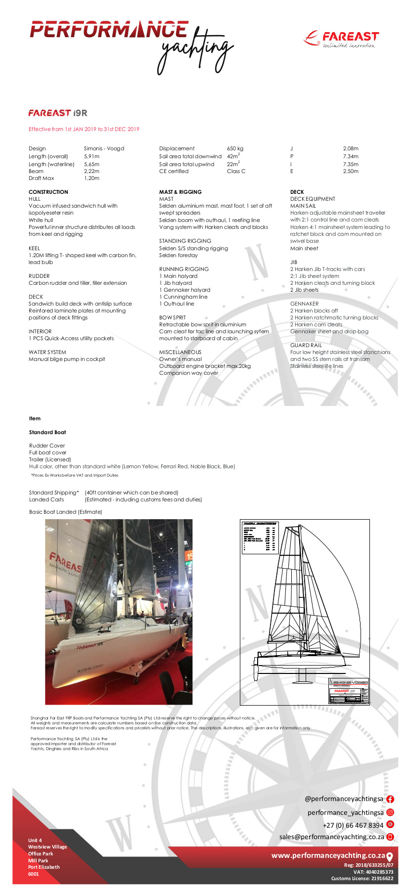 Fareast 19R Specifications